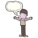 Cartoon alien squid face man with speech bubble Royalty Free Stock Photo