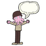 Cartoon alien squid face man with speech bubble Stock Images