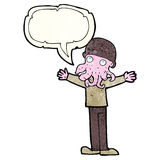 Cartoon alien squid face man with speech bubble Royalty Free Stock Image
