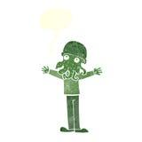 Cartoon alien squid face man with speech bubble Royalty Free Stock Photos