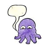 Cartoon alien squid face with speech bubble Stock Photo