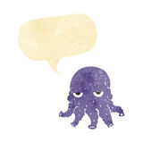 Cartoon alien squid face with speech bubble Stock Image