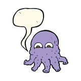 Cartoon alien squid face with speech bubble Royalty Free Stock Photo