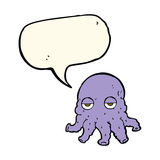 Cartoon alien squid face with speech bubble Royalty Free Stock Photos