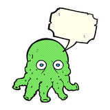 Cartoon alien squid face with speech bubble Royalty Free Stock Image