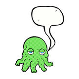 Cartoon alien squid face with speech bubble Stock Images