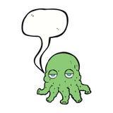 Cartoon alien squid face with speech bubble Stock Photos