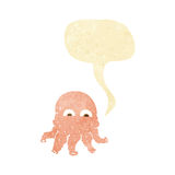 Cartoon alien squid face with speech bubble Stock Photography