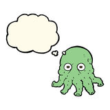 Cartoon alien squid face with thought bubble Stock Image