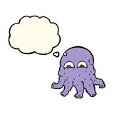 Cartoon alien squid face with thought bubble Royalty Free Stock Images