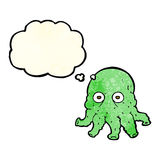 Cartoon alien squid face with thought bubble Stock Photos