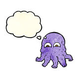 Cartoon alien squid face with thought bubble Royalty Free Stock Photo