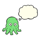Cartoon alien squid face with thought bubble Royalty Free Stock Photos