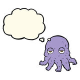 Cartoon alien squid face with thought bubble Stock Photo