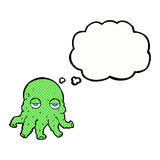 Cartoon alien squid face with thought bubble Royalty Free Stock Image