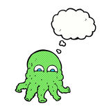 Cartoon alien squid face with thought bubble Stock Photography