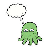 Cartoon alien squid face with thought bubble Stock Images
