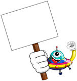 Cartoon alien ufo spaceship blank banner  Royalty Free Stock Photo
