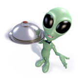 Cartoon alien waiter Royalty Free Stock Photo