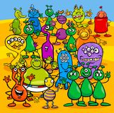 Cartoon aliens fantasy characters group. Cartoon Illustration of Aliens Fantasy Characters Group Stock Images