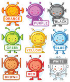 Cartoon aliens representing colors. Cartoon aliens with color signs, may be used as teaching aid for language learning, no gradients Royalty Free Stock Images