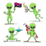 Cartoon Aliens Set. Cartoon funny aliens set. Green skin aliens with a laser gun, alien uranium beer, pocket flying saucer and galaxy flag. Vector illustration Royalty Free Stock Image