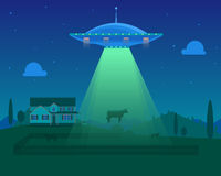 Cartoon Aliens Spaceship or UFO Takes Cow. Vector. Cartoon Aliens Spaceship or UFO Takes Cow on Farm Background. Concept of Science or Invasion. Vector Royalty Free Stock Photo