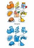 Cartoon Allergen Icons Set Stock Photography