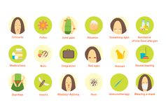 Cartoon Allergy Infographic Card Poster Elements. Vector stock illustration