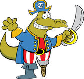 Cartoon alligator dressed as a pirate Stock Image