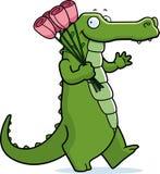 Cartoon Alligator Flowers Royalty Free Stock Images