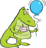 Cartoon alligator holding a piece of cake and a balloon. Royalty Free Stock Photo