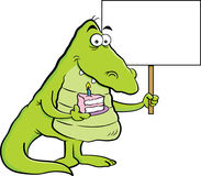 Cartoon alligator holding a piece of cake and a sign. Royalty Free Stock Photos