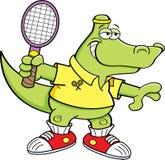 Cartoon alligator playing tennis. Royalty Free Stock Photo