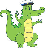 Cartoon alligator in sailor cap. Vector flat illustration Royalty Free Stock Photos