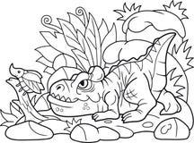 Cartoon allosaurus hunts beetle Stock Photo