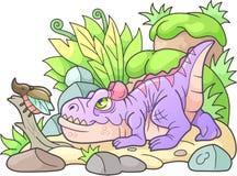 Cartoon allosaurus hunts beetle Stock Photography