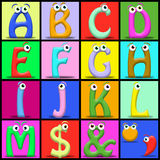 Cartoon alphabet. Funny cartoon alphabet. Useful also for educational or preschool books for kids Royalty Free Stock Photo