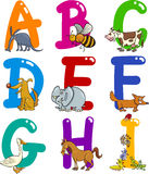 Cartoon Alphabet with Animals. Cartoon Colorful Alphabet Set with Funny Animals Stock Photos