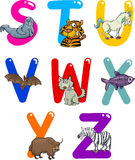 Cartoon Alphabet with Animals. Cartoon Colorful Alphabet Set with Funny Animals Stock Illustration