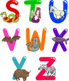 Cartoon Alphabet with Animals. Cartoon Colorful Alphabet Set with Funny Animals Royalty Free Stock Photography