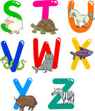 Cartoon Alphabet with Animals. Cartoon Colorful Alphabet Set with Funny Animals Royalty Free Stock Image