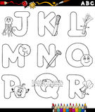 Cartoon alphabet for coloring book Royalty Free Stock Photography