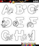 Cartoon alphabet for coloring book stock illustration