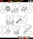 Cartoon alphabet coloring page stock illustration