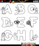 Cartoon alphabet coloring page Stock Image
