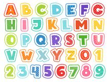 Cartoon alphabet. Cute colored letters numbers signs and symbols for school kids and childrens vector funny font. Alphabet and colored abc, font letter and vector illustration