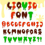 Cartoon alphabet. With effect of liquid chocolate, flowing blood or paint Stock Photography