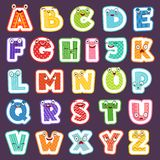 Cartoon alphabet with emotions. Colored cute font characters letters symbols signs and numbers vector alphabet for royalty free illustration
