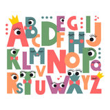 Cartoon alphabet with eyes. And lashes on white background. Cute abc design for book cover, poster, card, print on baby's clothes, pillow etc. Colorful letters Stock Photography